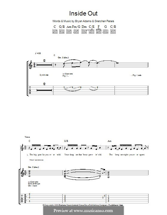 Inside Out: For guitar with tab by Bryan Adams, Gretchen Peters