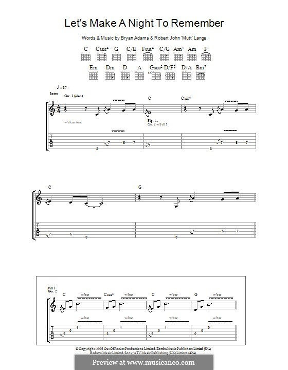 Let's Make a Night to Remember: For guitar with tab by Robert John Lange