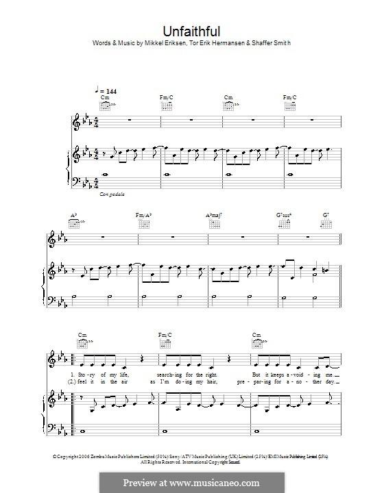 Unfaithful (Rihanna): For voice and piano (or guitar) by Mikkel Storleer Eriksen, Ne-Yo, Tor Erik Hermansen
