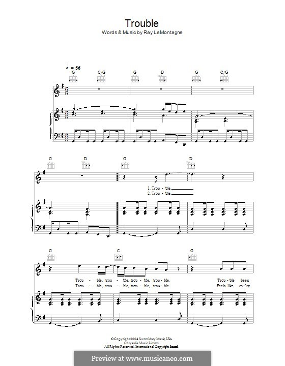 Trouble By R Lamontagne Sheet Music On Musicaneo