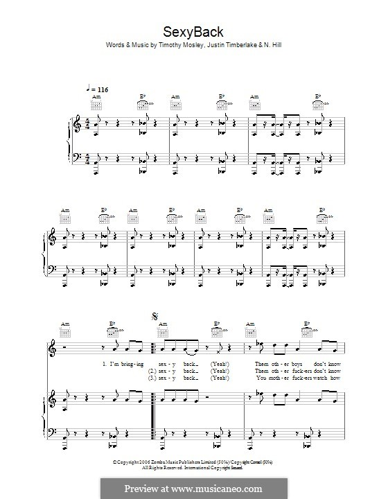 SexyBack (Justin Timberlake): For voice and piano (or guitar) by N. Hill, Timbaland