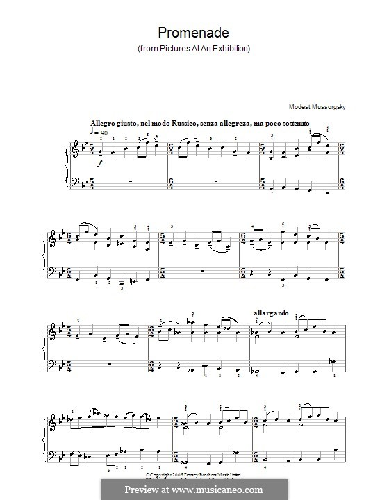 Promenade I: Version for easy piano by Modest Mussorgsky