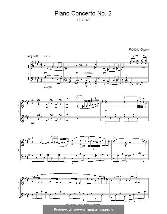 Fragmnets: Movement II (Theme). Version for easy piano by Frédéric Chopin