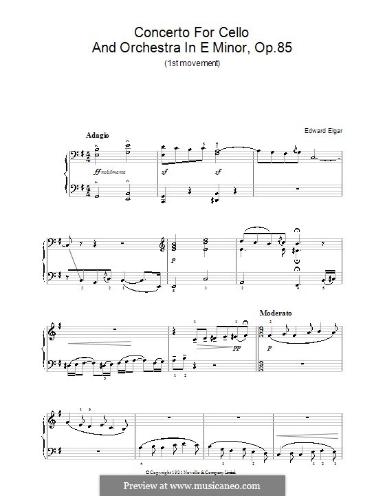 Concerto for Cello and Orchestra, Op.85: Movement I. Version for easy piano by Edward Elgar