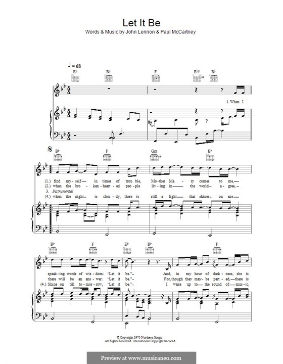 Let it Be (The Beatles): For voice and piano or guitar (B Flat Major) by John Lennon, Paul McCartney