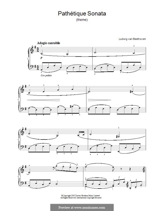 Movement II: Theme. Version for easy piano by Ludwig van Beethoven