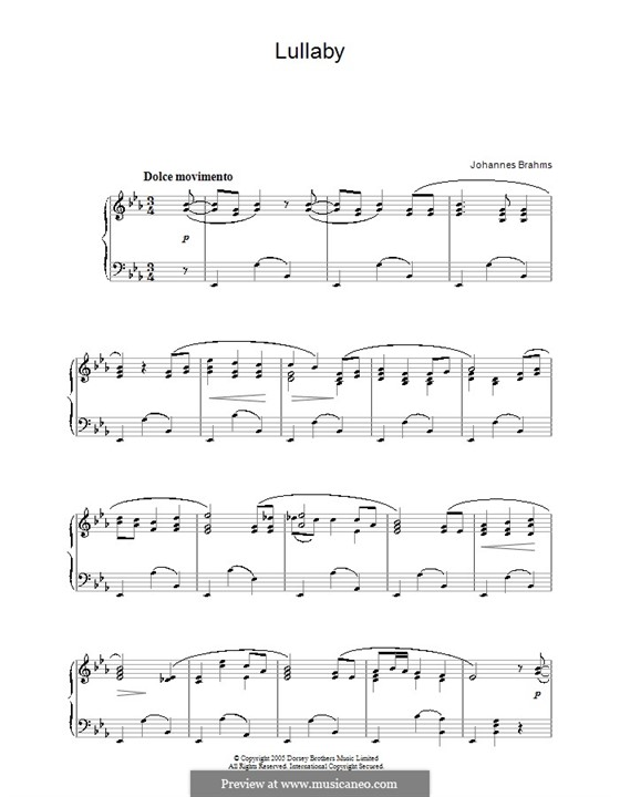 No.4 Cradle Song: For piano by Johannes Brahms