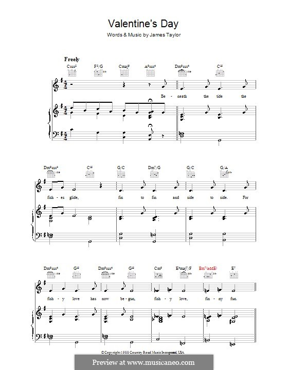 Valentine's Day: For voice and piano (or guitar) by James Taylor