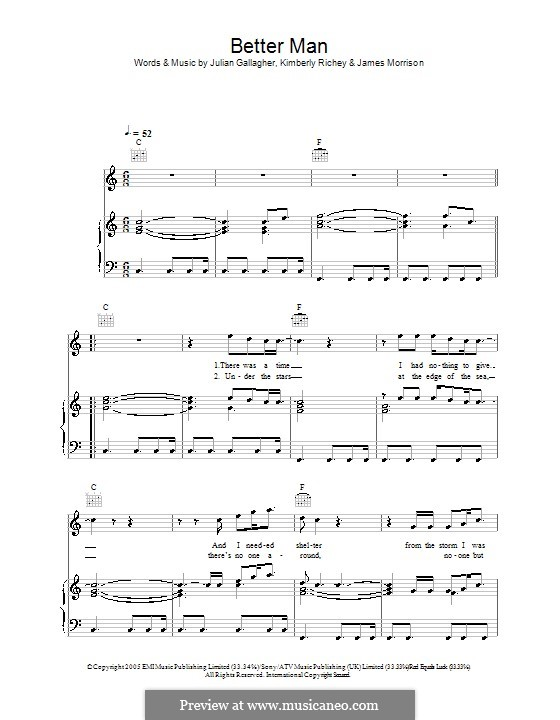 Better Man (James Morrison): For voice and piano (or guitar) by Julian Gallagher, Kim Richey