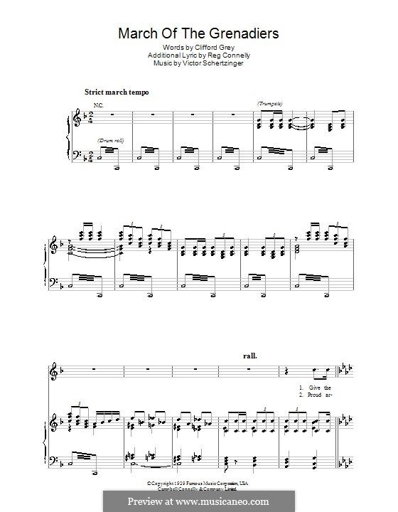 March of the Grenadiers: For voice and piano (or guitar) by Victor Schertzinger