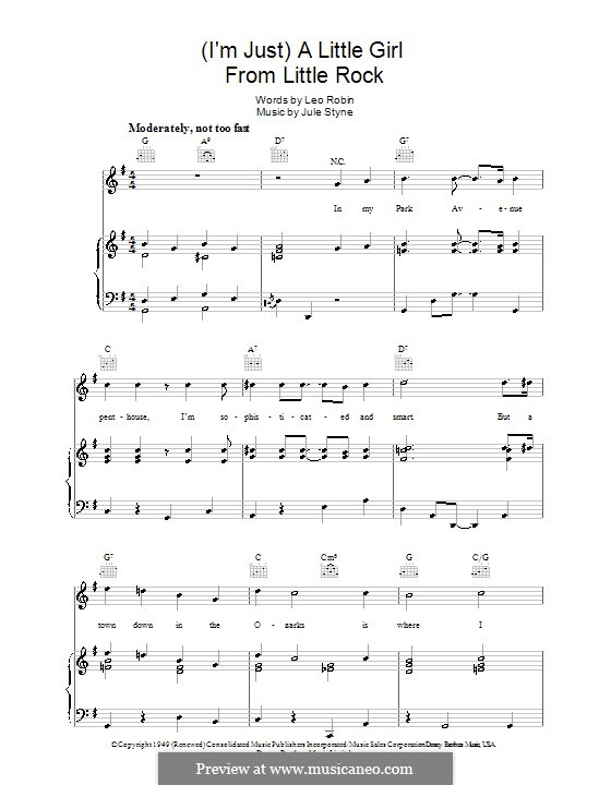 A Little Girl from Little Rock: For voice and piano (or guitar) by Jule Styne