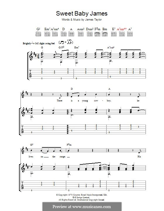 Sweet Baby James: For guitar with tab by James Taylor