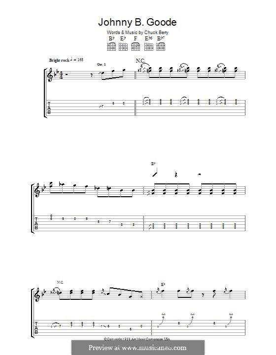 Johnny B. Goode: For guitar with tab by Chuck Berry
