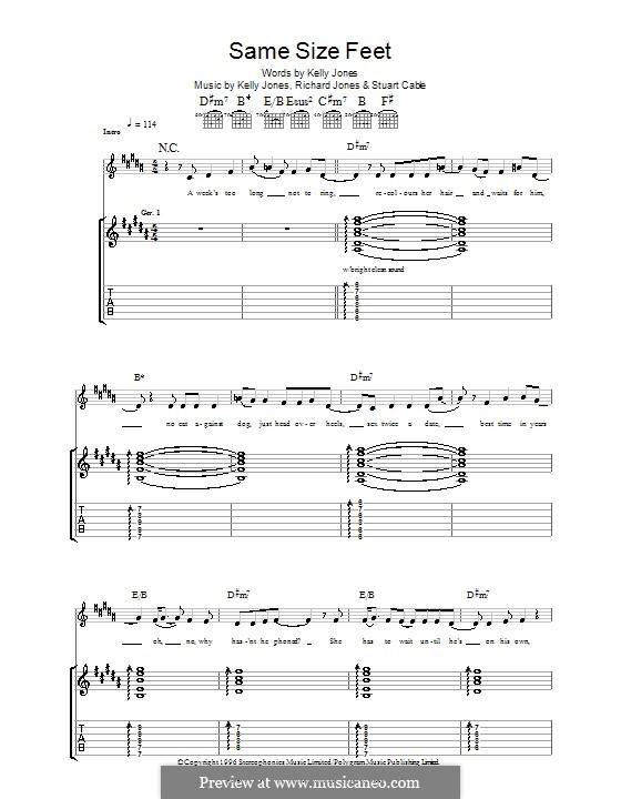 Same Size Feet (Stereophonics): For guitar with tab by Kelly Jones, Richard Jones