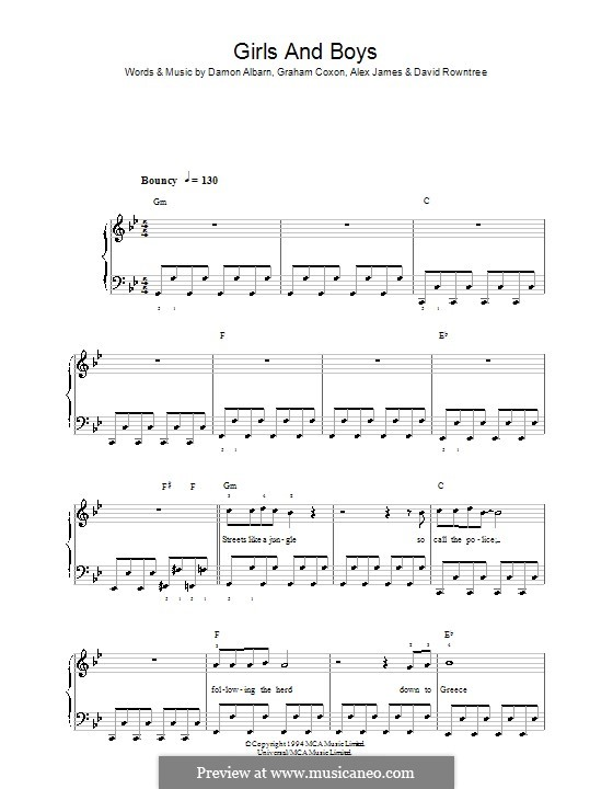 Girls and Boys (Blur): For easy piano by Alex James, Damon Albarn, David Rowntree, Graham Coxon