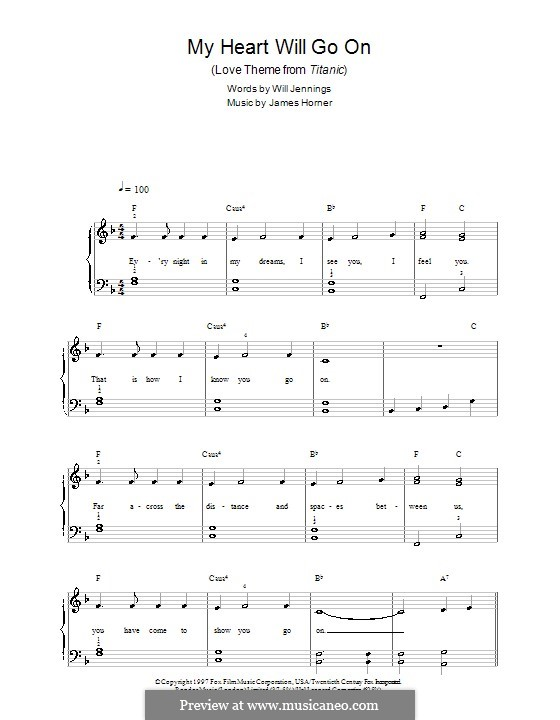 My Heart Will Go On Love Theme From Titanic By J Horner On Musicaneo