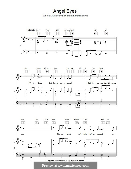 Angel Eyes (Frank Sinatra): For voice and piano (or guitar) by Matt Dennis