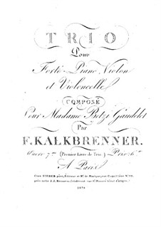Piano Trio No.1, Op.7: Piano Trio No.1 by Friedrich Kalkbrenner