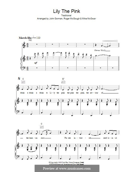 Lily the Pink: For voice and piano (or guitar) by folklore