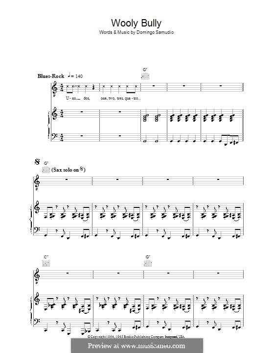 Wooly Bully (Sam the Sham & The Pharaohs): For voice and piano (or guitar) by Domingo Samudio