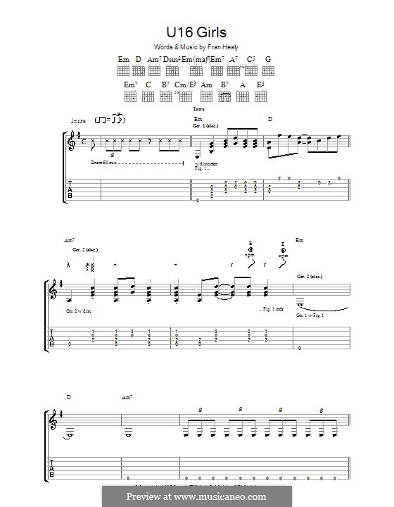 U16 Girls (Travis): For guitar with tab by Fran Healy