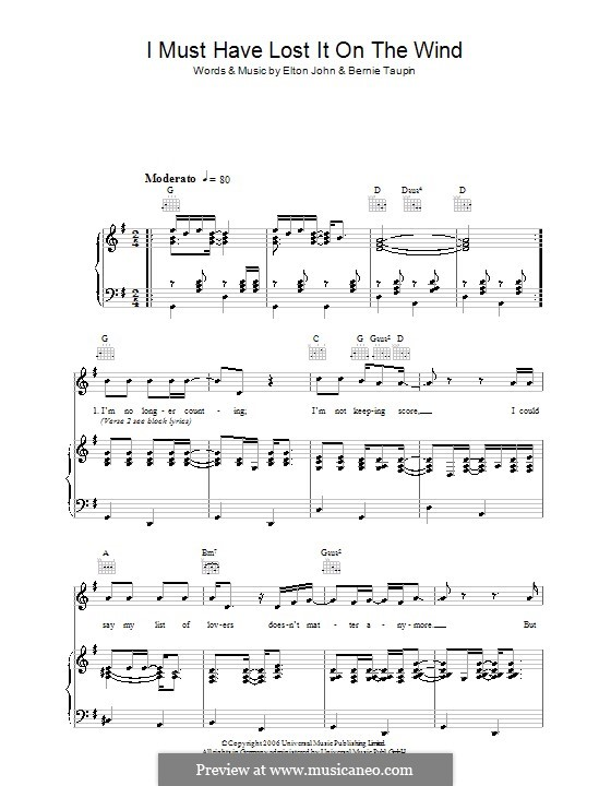 I Must Have Lost It on the Wind: For voice and piano (or guitar) by Elton John