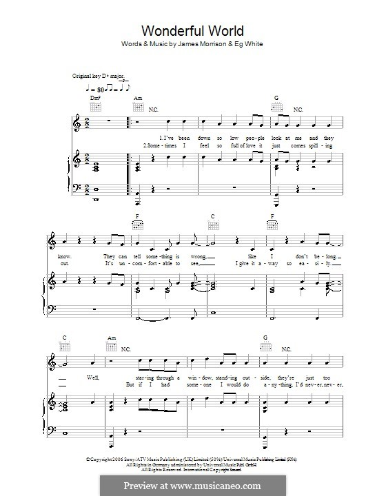Wonderful World: For voice and piano (or guitar) by Eg White