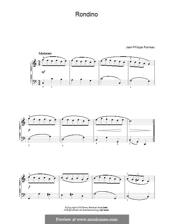 Minuet in C Major, RCT 4: For easy piano by Jean-Philippe Rameau