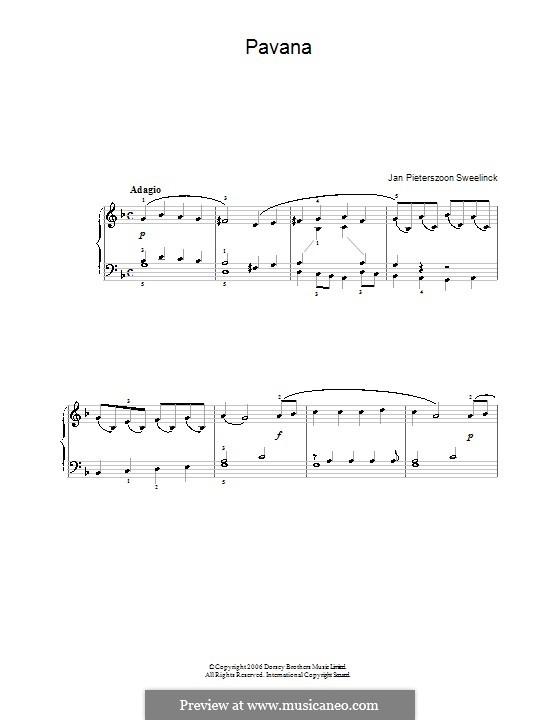 Pavana in G Minor: For easy piano by Jan Pieterszoon Sweelinck