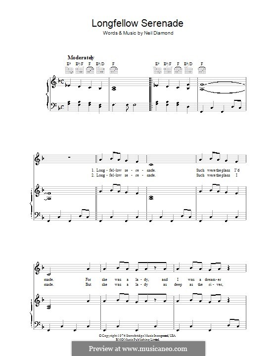 Longfellow Serenade: For voice and piano (or guitar) by Neil Diamond