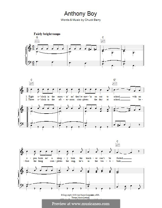 Anthony Boy: For voice and piano (or guitar) by Chuck Berry