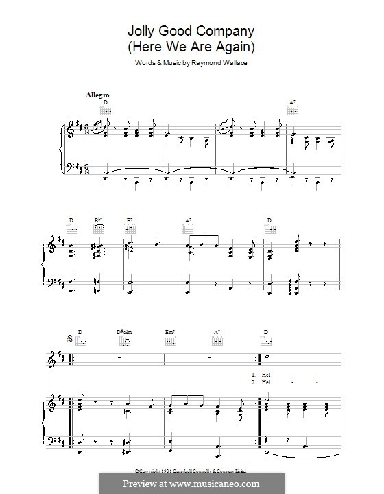 Jolly Good Company: For voice and piano (or guitar) by Raymond Wallace