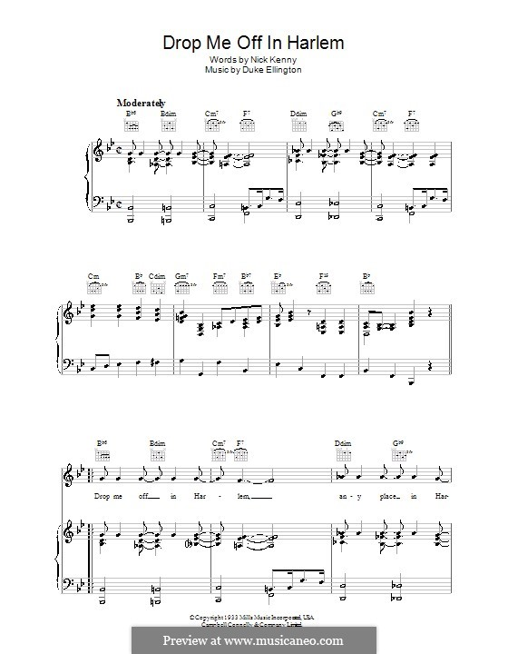 Drop Me Off in Harlem: For voice and piano (or guitar) by Duke Ellington