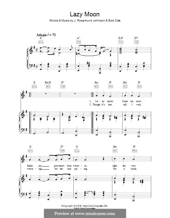 Lazy Moon: For voice and piano (or guitar) by Bob Cole, J. Rosamond Johnson