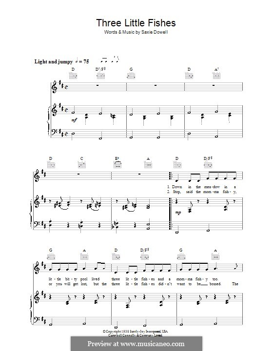 Three Little Fishes: For voice and piano (or guitar) by Saxie Dowell