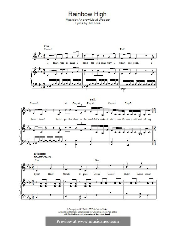 Rainbow High: For voice and piano or guitar (Madonna) by Andrew Lloyd Webber
