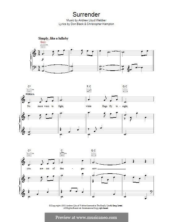 Surrender: For voice and piano (or guitar) by Andrew Lloyd Webber