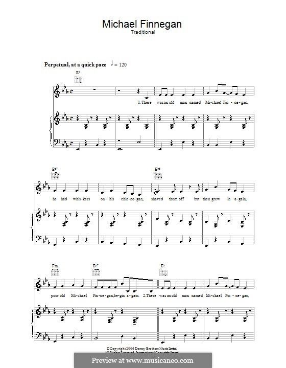 Michael Finnegan: For voice and piano (or guitar) by folklore