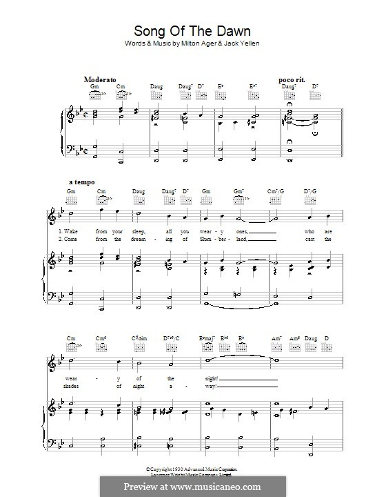 Song of the Dawn: For voice and piano (or guitar) by Milton Ager