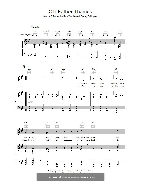 Old Father Thames (Keep Rolling Along ): For voice and piano (or guitar) by Betsy O'Hogan