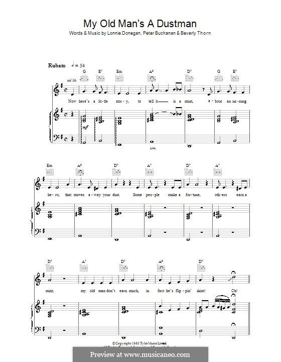 my old man sheet music pdf
