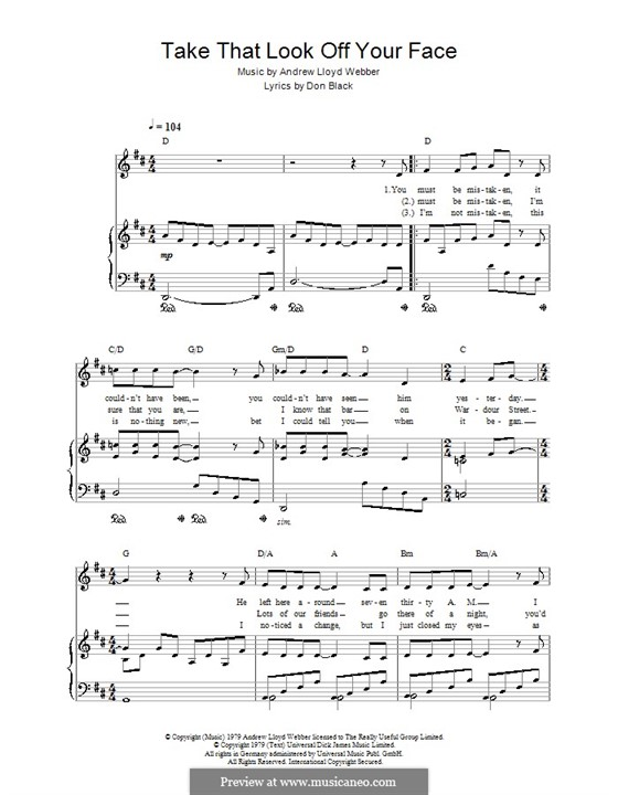 Take That Look Off Your Face: For voice and piano (or guitar) by Andrew Lloyd Webber