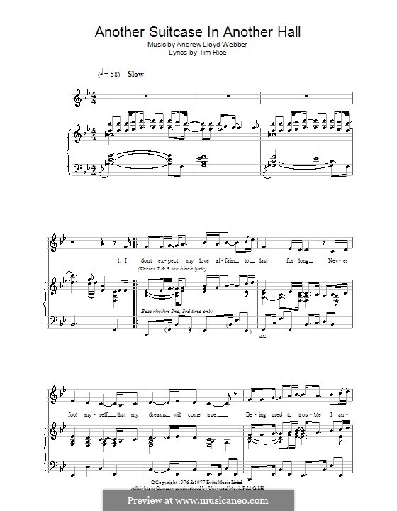 Another Suitcase in Another Hall: For voice and piano by Andrew Lloyd Webber