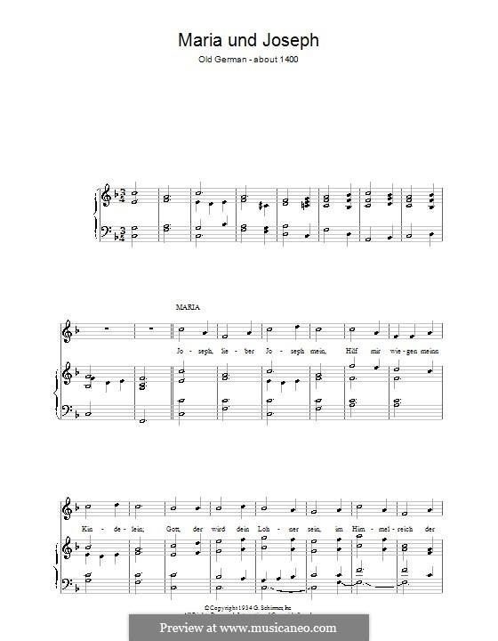 Maria und Joseph: Für Stimme und Klavier by folklore