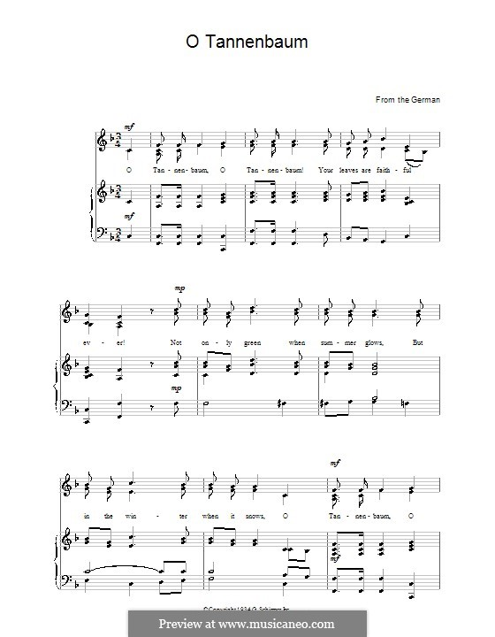 O Christmas Tree, (Printable Scores): For voice and piano by folklore