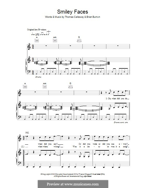 Smiley Faces (Gnarls Barkley): For voice and piano (or guitar) by Brian Burton, Thomas Callaway