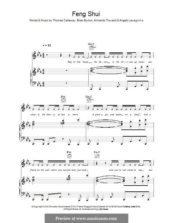 Feng Shui (Gnarls Barkley): For voice and piano (or guitar) by Angelo Lavagnino, Armando Trovaioli, Brian Burton, Thomas Callaway