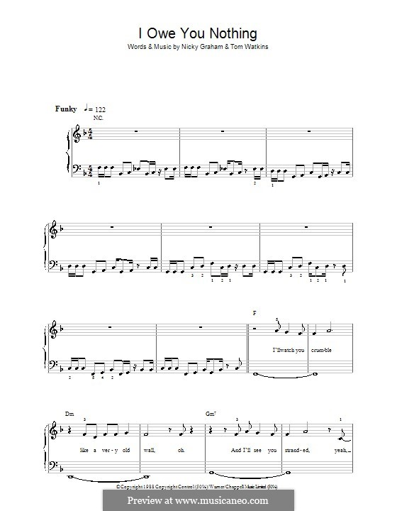 I Owe You Nothing (Bros): For easy piano by Nicky Graham, Tom Watkins
