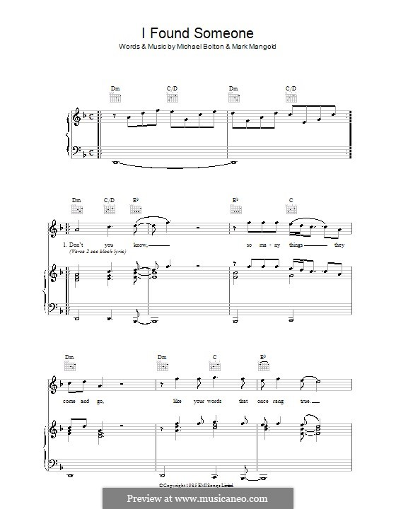 I Found Someone (Cher): For voice and piano (or guitar) by Mark Mangold, Michael Bolton