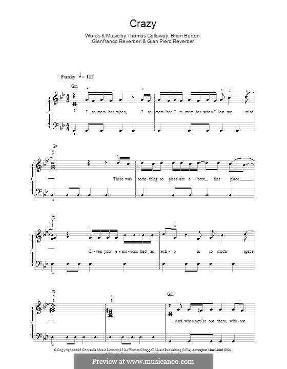 Crazy (Gnarls Barkley): For easy piano by Brian Burton, Gian Piero Reverberi, Gianfranco Reverberi, Thomas Callaway